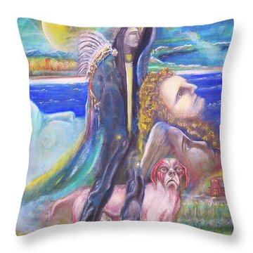 Visiting Star Beings Throw Pillow
