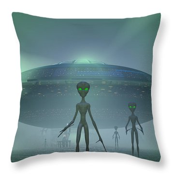 Visitors Throw Pillow by Carol and Mike Werner