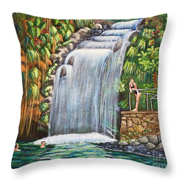 Visitors To The Falls Throw Pillow