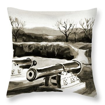 Visitors Welcome Bw Throw Pillow by Kip DeVore