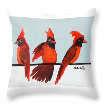 Visits From A Dancing Cardinal Throw Pillow