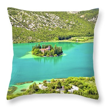 Visovac Lake Island Monastery Aerial View Throw Pillow by Brch Photography
