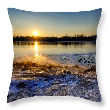 Vistula River Sunset 3 Throw Pillow