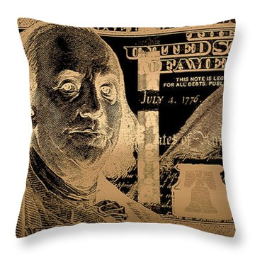 One Hundred Us Dollar Bill - $100 Usd In Gold On Black Throw Pillow
