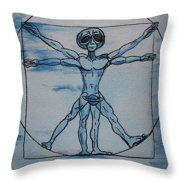 Vitruvian Alien Throw Pillow