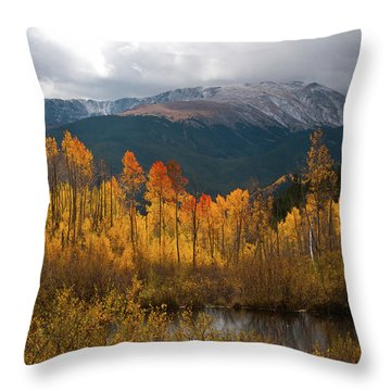 Throw Pillow featuring the photograph Vivid Autumn Aspen And Mountain Landscape by Cascade Colors