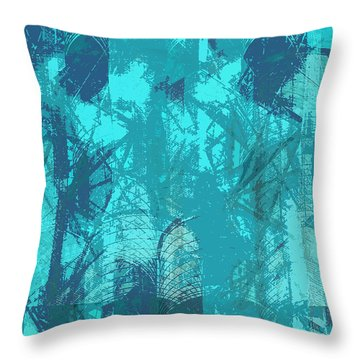 Vivid Blue Seafoam Nyc Water Towers  Throw Pillow by Stan  Magnan
