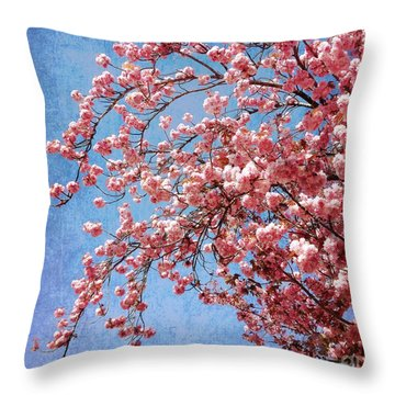 Vivid Cherry Blossoms Throw Pillow