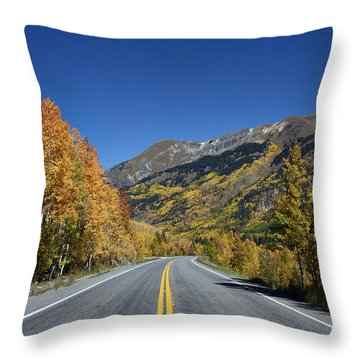 Vivid Fall Colors On The Million-dollar Highway In San Juan County In Colorado  Throw Pillow
