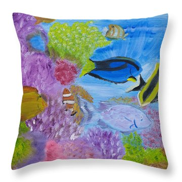 Corals Calling  Throw Pillow by Meryl Goudey