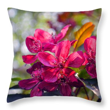Vivid Pink Flowers Throw Pillow