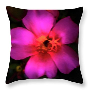 Vivid Rich Pink Flower Throw Pillow