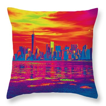 Vivid Skyline Of New York City, United States Throw Pillow