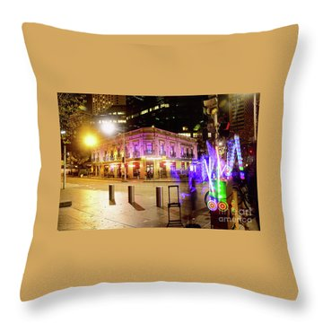Throw Pillow featuring the photograph Vivid Sydney Circular Quay By Kaye Menner by Kaye Menner