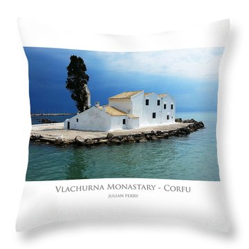 Throw Pillow featuring the digital art Vlachurna Monastary - Corfu by Julian Perry