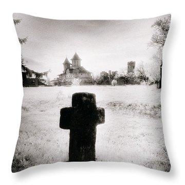 Vlad Draculas Palace Throw Pillow by Simon Marsden