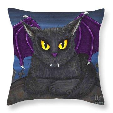 Vlad Vampire Cat Throw Pillow