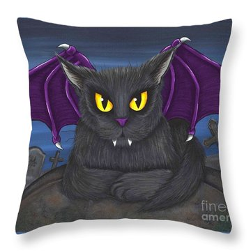 Throw Pillow featuring the painting Vlad Vampire Cat by Carrie Hawks