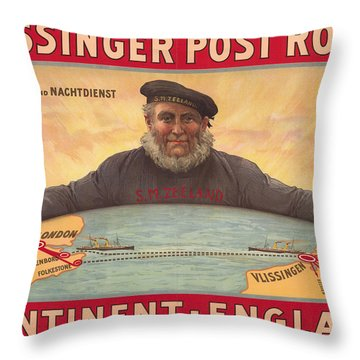 Vlissinger Post Route - Zeeland Maritime Company Poster - London To Flushing Ship Route Throw Pillow