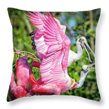 Vocal Roseate Spoonbill Mates Throw Pillow