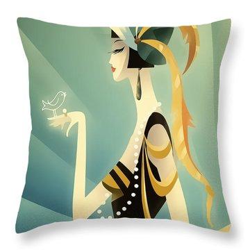 Vogue - Bird On Hand Throw Pillow