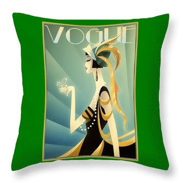 Throw Pillow featuring the digital art Vogue - Bird On Hand by Chuck Staley