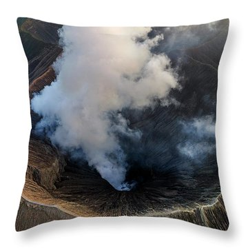 Throw Pillow featuring the photograph Volcanic Crater From Above by Pradeep Raja Prints