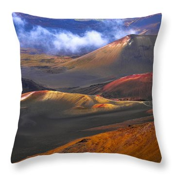 Volcanic Crater In Maui Throw Pillow by Debbie Karnes