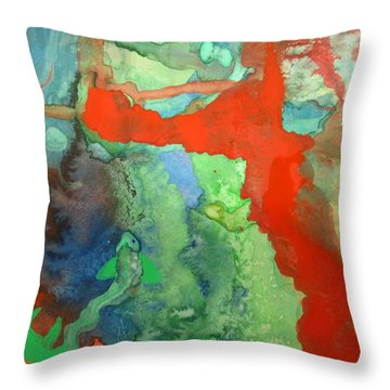 Throw Pillow featuring the mixed media Volcanic Island by Mary Ellen Frazee