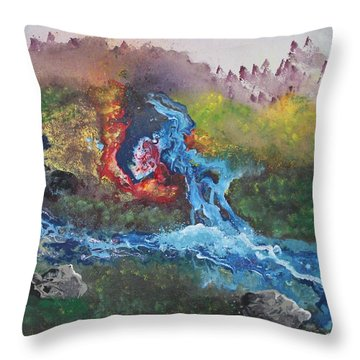Throw Pillow featuring the painting Volcano Delta by Antonio Romero