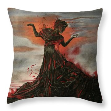 Volcano Keeper Throw Pillow by Melita Safran