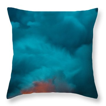 Volcano Smoke And Fire Throw Pillow