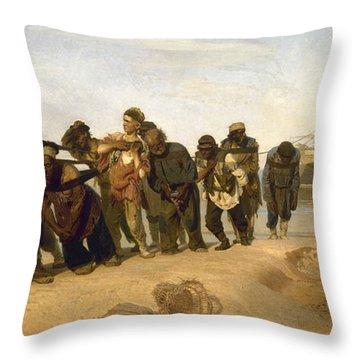Volga Boatmen Throw Pillow