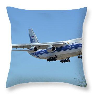 Throw Pillow featuring the photograph Volga-dnepr An-124 Ra-82068 Landing Phoenix Sky Harbor June 15 2016 by Brian Lockett