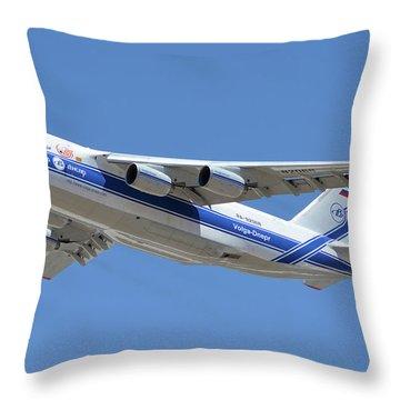 Throw Pillow featuring the photograph Volga-dnepr An-124 Ra-82068 Take-off Phoenix Sky Harbor June 15 2016 by Brian Lockett