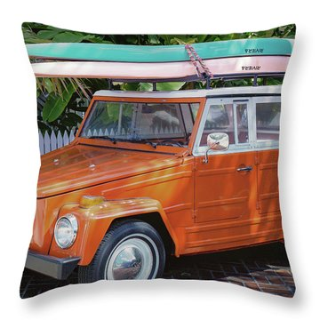 Volkswagen And Surfboards Throw Pillow