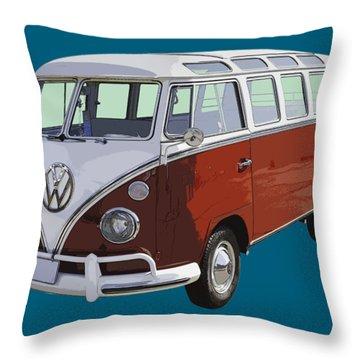 Volkswagen Bus 21 Window Bus  Throw Pillow