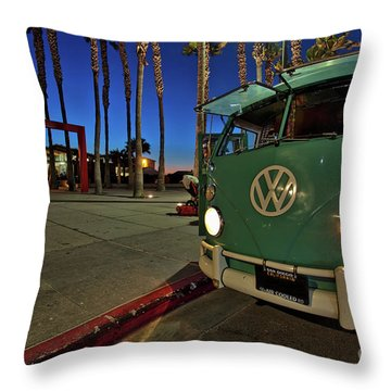 Volkswagen Bus At The Imperial Beach Pier Throw Pillow