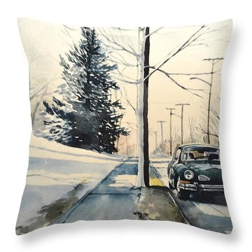 Volkswagen Karmann Ghia On Snowy Road Throw Pillow