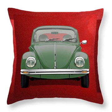 Throw Pillow featuring the digital art Volkswagen Type 1 - Green Volkswagen Beetle On Red Canvas by Serge Averbukh
