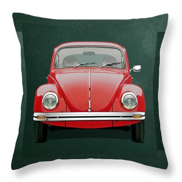 Throw Pillow featuring the digital art Volkswagen Type 1 - Red Volkswagen Beetle On Green Canvas by Serge Averbukh