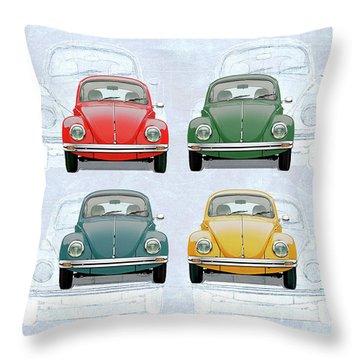 Volkswagen Type 1 - Variety Of Volkswagen Beetle On Vintage Background Throw Pillow