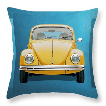 Throw Pillow featuring the digital art Volkswagen Type 1 - Yellow Volkswagen Beetle On Blue Canvas by Serge Averbukh
