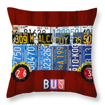 Volkswagen Vw Bus Vintage Classic Retro Vehicle Recycled License Plate Art Usa Throw Pillow