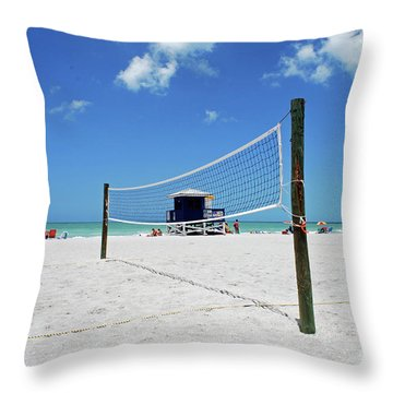 Throw Pillow featuring the photograph Volley Ball On The Beach by Gary Wonning