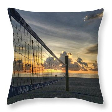 Volleyball Sunrise Throw Pillow