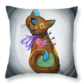 Throw Pillow featuring the painting Voodoo Cat Doll - Patchwork Cat by Carrie Hawks