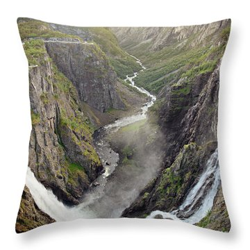 Voringsfossen Waterfall And Canyon Throw Pillow