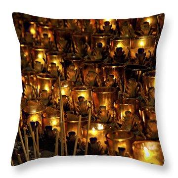 Votive Candles Throw Pillow by John Greim
