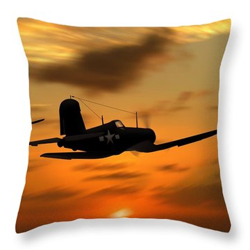 Vought Corsairs At Sunset Throw Pillow